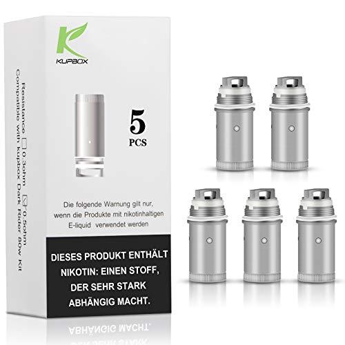 Kupbox Verdampferkopf, EC Coil 0.5 Ohm (Packung von 5) für Kupbox E Zigarette Starterset,80W Rider Dark, ohne Nikoti