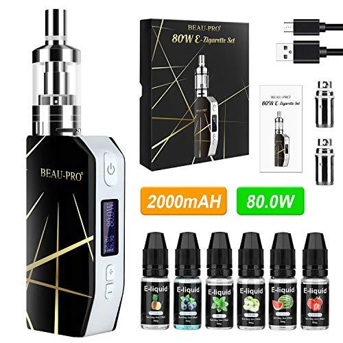 E Zigarette Starter Set E Shisha Liquid ohne Nikotin Elektrische Zigaretten 80W/2200mAh Akku mit 6x10ml E-liquid,3ml Verdampfer Tank,Luftstromregler,0.5Ohm Atomisierungskern MEHRWEG