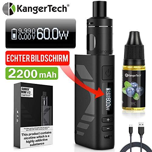 E Zigarette Starter Set Kangertech 60W 2200mAh Subox Mini V2 OLED Screen Verdampfer 2mL NCOCC 0,8/1,5ohm, E Shisha KBOX Mini akkuträger, Dampfer E-zigaretten mit liquid Ohne Nikoti