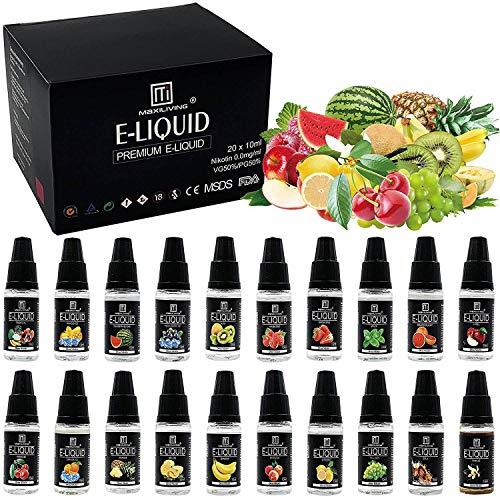 Maxiliving 20er x 10ml E Liquid 0,0mg Nikotin 20 Aromen e-liquid für E-Zigarett