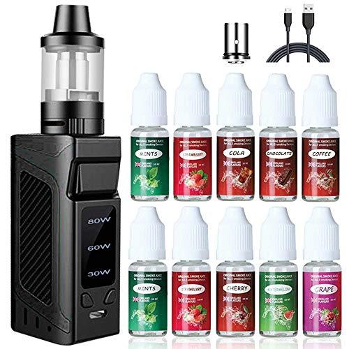 E Zigarette Starter Set 80W, LHH Box Mod Kit und 10x10ml E liquid,2000mah Akku und 2ml Top Refill Verdampfer und 0.5 Ohm Verdampferköpfe Kein Nikotin Schwarz