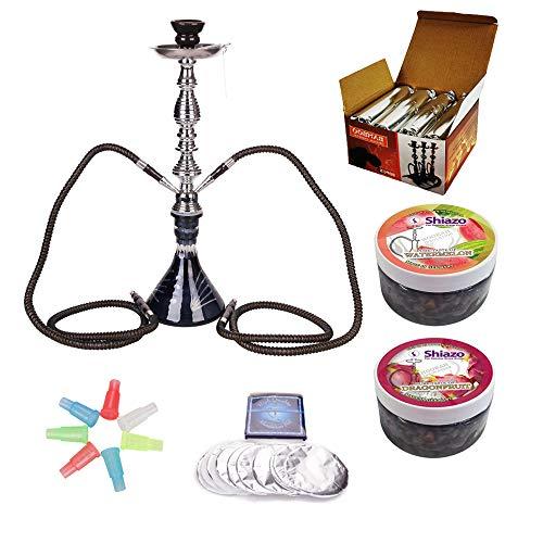 RMAN Wasserpfeife Shisha Set - 1 x Shisha Hookah / 1 x Shisha Kohle Naturkohle / 1 x Hygiene Mundstück / 2 x Shiza Dampfstei