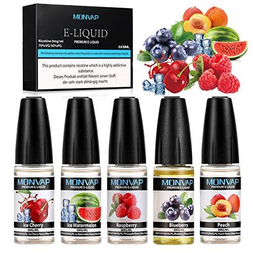E Liquids ohne Nikotin,E-liquid 5x 10ml, E-Zigaretten Liquid Set 70VG/30PG, E-Juice Nikotinfrei, 0,0 mg Nikotin 5er Pack